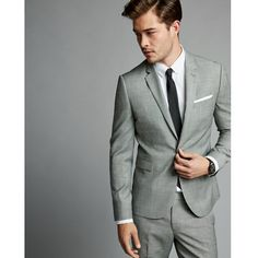 Express Skinny Innovator Gray Textured Windowpane Wool Blend Suit... ($348) ❤ liked on Polyvore featuring men's fashion, men's clothing, grey and express mens clothing