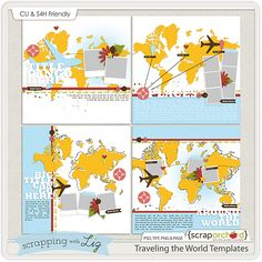 Traveling the World Templates: Digital Scrapbooking Templates from Scrapping with Liz