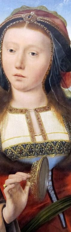 Quentin Metsys - Portrait of a young woman posing as Saint Mary Magdalene, detail, 1520-25 .