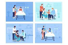 Flat Illustration, Vector Illustrations, Cartoon Characters, Vector Characters, Color Vector, Flat Color, Design Bundles, Health Care, Animation