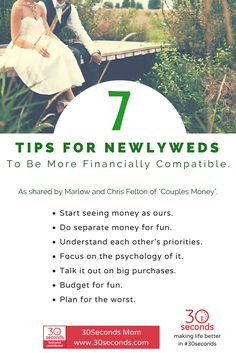 "30Seconds Mom tells us advice from Marlow and Chris Felton of ""Couples Money"" book about how to be financially compatible as newlyweds. Read more here: https://30seconds.com/mom/tip/14243/Couples-Money-7-Tips-to-Help-Newlyweds-Be-More-Financially-Compatible #weddings #newlyweds"