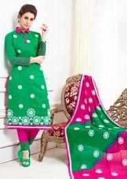 Daily Wear Green Cotton Resham Work Salwar Kameez