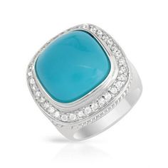 Exquisite Cocktail Ring With Cubic zirconia and Turquoises Made of 925 Sterling silver. Total item weight: 17.0g -
