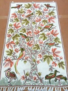 Fully Embroidered Tree birds wall hanging/Nursery by Pamposh