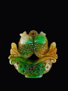 Chinese Hand Carved Koi Fish Jade Pendant.