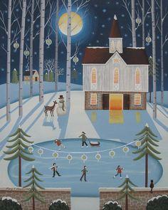 Star Barn Skaters Print By Mary Charles Winter Folk Art Art And Illustration, Christmas Illustration, Christmas Paintings, Christmas Art, Christmas Villages, Retro Christmas, Christmas Design, Primitive Folk Art, Primitive Painting