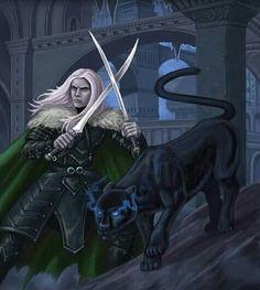 m Drow Elf Ranger Med Armor Cloak Dual Sword Underdark city Drizzt & Guenhwyvar med Fantasy Art Men, Fantasy Rpg, Medieval Fantasy, Elves Fantasy, Drow Male, Drizzt Do Urden, Forest Elf, Forgotten Realms, Fantasy Setting
