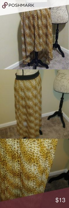 Perfect Pleated High Low skirt Leapord printed fashion skirt 35 inches in the back and 22 inches in the front, lined in a gold tone Skirts High Low