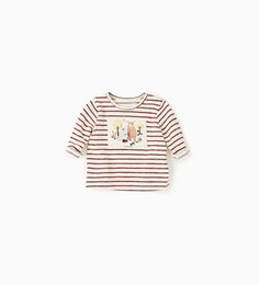 Image 1 of Striped T-shirt with patch from Zara
