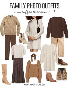 Fall Family Picture Outfits, Christmas Pictures Outfits, Family Picture Colors, Family Portrait Outfits, Neutral Family Photos, Family Photos What To Wear, Winter Family Photos, Family Pics, Fall Photos