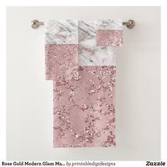 Shop Rose Gold Modern Glam Marble & Glitter Decorative Bath Towel Set created by printabledigidesigns. Personalize it with photos & text or purchase as is! Gold Bathroom, Bathroom Towels, Bath Towels, Office Bathroom, Bathroom Interior, Bathroom Tray, Bathroom Styling, Small Bathroom, Rose Gold Kitchen