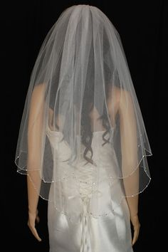 Wedding Veil Bridal Two Tier White Scalloped Fingertip Clear Crystal Beaded   eBay