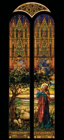 Tiffany The upper design is similar to the annunciation window at St Paul's Church, Troy, NY