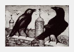 @timsouthallart: 'Ravens at the Tower' etching