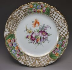 Dresden Luncheon Plate Hand Painted German Flowers Porcelain Purple Orange #3 #Dresden