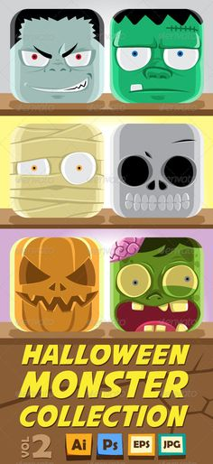 Monster Face Collection vol 2 #GraphicRiver Another collection of 6 popular halloween creature in nice rounded rectangle shape. Awesome details and highly editable. No transparancies are used. All objects are on separated layer and neatly named. Download pack includes AI, EPS , Hi-res PSD and JPG . Font used in preview is AVENGEANCE MIGHTIEST AVENGER and not included in the download pack. Be sure to see the vol 1 Created: 28August12 GraphicsFilesIncluded: PhotoshopPSD Layered: Yes…