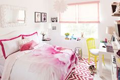 This is teen girls bedroom that look elegant with a variety of accessories and colorful concept. The cute girls bedroom is designed for JCPenney contest that goes along with the Teen Vogue magazine. This is modern teen bedroom design that has a lot of inspiration and beauty.