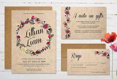Printable Wedding Invitation Bundle  Floral by TheLaundromat