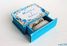 Wedding Ring Box, Wedding Boxes, Personalised Box, Personalized Wedding, Ring Bearer Box, Nautical Wedding, Blue Rings, Decorative Boxes, Pure Products