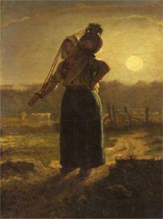 Jean-François Millet (French 1814–1875) [Realism, Naturalism, Barbizon School] Norman Milkmaid.
