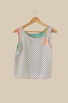 #musculosa #diseño #trueno dorado #vintage #tela reciclada #tank #design #clothes #polka dots