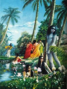 While Śrī Vyāsadeva was following his son, beautiful young damsels who were bathing naked covered their bodies with cloth, although Śrī Vyāsadeva  himself was not naked. But they had not done so when his son had passed. The sage inquired about this, and the young ladies replied his son was purified and when looking at them made no distinction between male and female. But the sage made such distinctions.