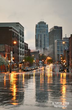 a nice wet look to a downtown Minneapolis street!    more photos at:  https://www.facebook.com/photo.php?fbid=337628286290326=a.268309459888876.73299.268304009889421=3