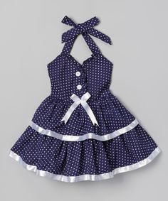 Loving this Navy Polka Dot & Bow Dress - Toddler & Girls on #zulily! #zulilyfinds
