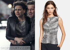 Once Upon a Time: Season 4 Episode 21 Regina's Python Print Peplum Top