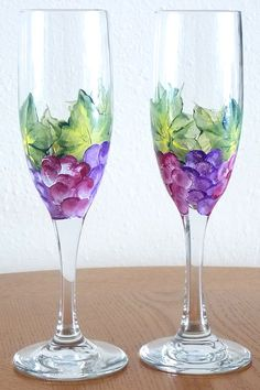 Set of 2 Hand Painted Wine Glasses Champagne by HelensGiftStore