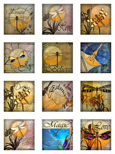 Dragonflies Moon Ephemera Botanical 1 and 2 Inch Instant Dragonfly Wall Art, Dragonfly Tattoo, Dragonfly Symbolism, Dragonfly Necklace, Graphics Fairy, Butterfly Cards, Artist Trading Cards, Rock Art, Collage Art