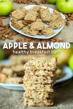 3 Ingredient Healthy breakfast bars made from apple, almonds and oats. Easy to make and filling 3 Ingredient Healthy breakfast bars made from apple, almonds and oats. Easy to make and filling Healthy Bars, Healthy Vegan Snacks, Healthy Drinks, Healthy Eating, Healthy Recipes, Breakfast Healthy, Apple Breakfast, Healthy Cooking, Healthy Granola Bars
