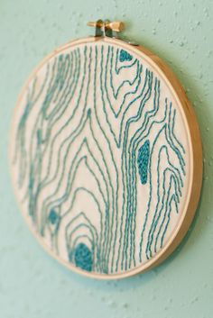 Turquoise Wood Grain - Hand Embroidered Wall Art