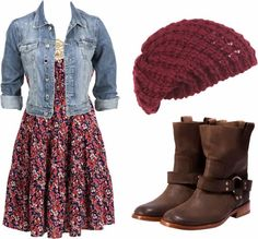 Floral mini flowy dress, jeans jacket, knitted cap and shoes cute