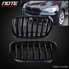 Nice Great 2 pcs Glossy Black Front Bumper Kidney Grille For BMW E70 X5 E71 X6 2007-2013 2018