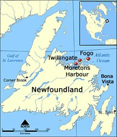Map Of Newfoundland Showing Fogo, Twillingate And Moretonu0027s Harbour