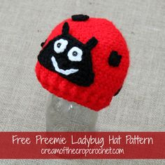 Cream Of The Crop Crochet ~ Preemie/Newborn Ladybug Hats {Free Crochet Pattern}