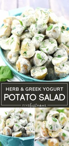 Herb & Greek Yogurt Potato Salad is a lovely addition to your Father's Day menu! Lightened up and delicious, this easy recipe is a healthier spin on the classic. Loaded with flavor from fresh herbs, this versatile side dish will complement your Father's Day meals! Best Side Dishes, Side Dish Recipes, Easy Dinner Recipes, Easy Meals, Simple Recipes, Greek Recipes, Paleo Recipes, Real Food Recipes, Cooking Recipes