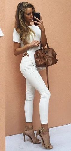 #summer #girly #outfitideas | Split Ribbed Tee + White