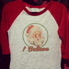christmas shirt santa tee vintage santa shirt by Rocknmamadesigns Vintage Santas, Christmas Shirts, Vintage Tees, Workout Shirts, Super Cute, Holidays, Rock, This Or That Questions, Fabric