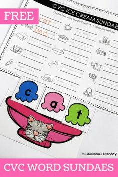 Grab this FREE CVC Words Ice Cream Sundae Printable Activity and use it in your small groups or literacy center for a Kindergarten CVC activity for summer! Kindergarten Centers, Kindergarten Activities, Kindergarten Classroom, Classroom Ideas, Literacy Stations, Literacy Centers, Reading Centers, Writing Centers, Teaching