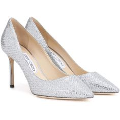 Jimmy Choo Romy 85 Glitter Pumps ($575) ❤ liked on Polyvore featuring shoes, pumps, heels, silver, silver glitter pumps, glitter heel shoes, heel pump, silver heeled shoes and silver shoes