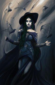 Fantasy Witch, Witch Art, Fantasy Warrior, Dark Fantasy Art, Evil Witch, Dark Witch, Evil Fairy, Witch Drawing, Nature Witch