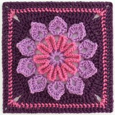 Ten petals, simple transitions and just challenging enough to be interesting…This 9 inch square was made using Red Heart Super Saver (Lilac, Dark Plum and Light Raspberry) worsted weight yarn and a size H hook. Super tester, Muffetsmom, used Red Heart Holiday and a size G hook for her 9 inch square. Your size will vary depending upon your yarn, hook and tension.