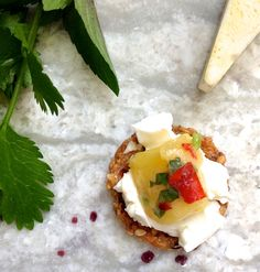 spread a cracker with your favorite soft cheese and top with some fresh Jezebel Salsa