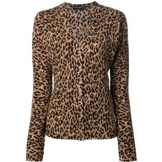 DOLCE & GABBANA leopard print cardigan ($1,220) ❤ liked on Polyvore featuring tops, cardigans, sweaters, dolce & gabbana, leopard, v neck cardigan, wool cardigan, dolce gabbana top, v-neck tops and button front cardigan