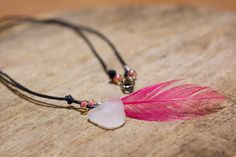 pink feather necklace, sea glass necklace, summer time pendant, real feather sea glass jewellery, bohemian necklace, quirky jewelry, for her by DreamsSanctuary on Etsy