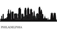 Philadelphia city skyline silhouette background Vector illustration Stock Vector