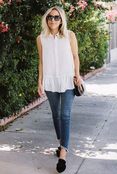 summer outfit, casual outfit, simple outfit, easy outfit, comfy outfit, summer trends 2016 - white sleeveless blouse, crop skinny jeans, black flat mules, brown sunglasses, black shoulder bag