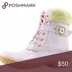 Pink fur duck boots Boots are ankle water resistant booties that keep moisture out whether you're trudging through deep snow or splashing through puddles.  Rubber soles with a uniquely designed anti-slip tread pattern on the rainboots provide extra traction to help you safely navigate slippery sidewalks and streets.Has a zipper for easy on and off access. Shoes Winter & Rain Boots